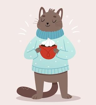Śliczny szary kot w przytulnym niebieskim, ciepłym swetrze leje piękne kakao. ilustracja zima.