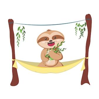 Śliczny szary leniwiec śpi, odpoczywając na gałęzi drzewa. urocza ręcznie rysowane postać lenistwa dziecka wisi na drzewie.
