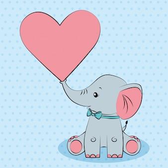 Śliczny szary słoniątko