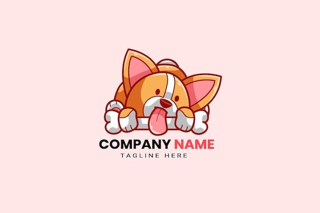 Śliczny szczeniak kawaii corgi shiba inu pies maskotka kreskówka logo szablon ikona ilustracja wyciągnąć rękę