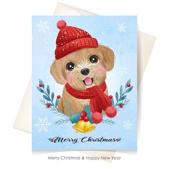 Śliczny Szczeniak Na Boże Narodzenie Z Akwarela Ilustracja Premium Wektorów