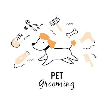 Śliczny szczeniak pielęgnacja zwierząt domowych.