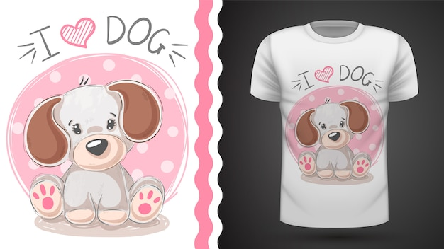 Śliczny szczeniak pomysł na druk koszulki