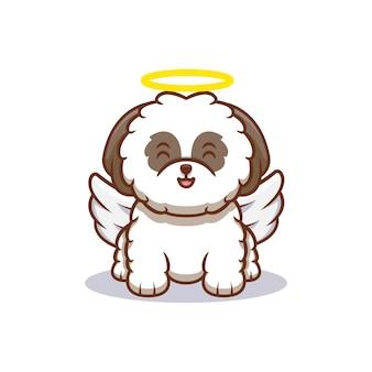 Śliczny szczeniak shih-tzu przekształca się w ikonę kreskówki anioła ilustracja