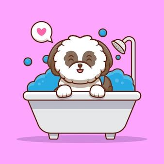 Śliczny szczeniak shih-tzu szczęśliwy wziąć kąpiel kreskówka ikona ilustracja