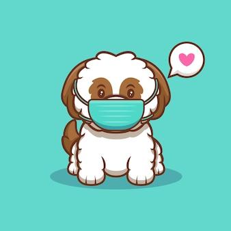 Śliczny szczeniak shih-tzu w masce w celu zapobiegania wirusowi kreskówka ikona ilustracja