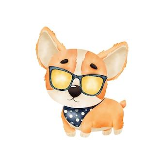 Śliczny szczeniak w okularach. szczeniak corgi na białym tle. akwarela ilustracja