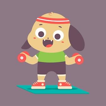 Śliczny szczeniak z hantlami robi ćwiczenia fitness. wektor postać z kreskówki śmieszne na białym tle w przestrzeni.
