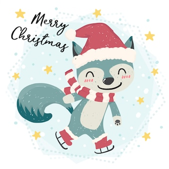 Śliczny szczęśliwy błękitny dziki lisa łyżwiarstwo w śniegu, wesoło boże narodzenia, płaski wektor