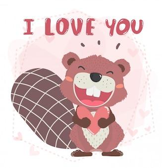 Śliczny szczęśliwy brązowy jesień bobra uśmiech z otwartymi ustami, trzymający serce z tekstem kocham cię,