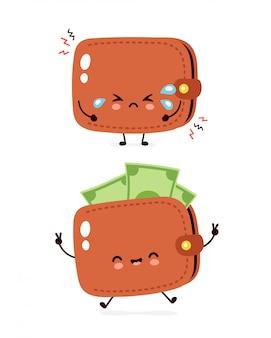 Śliczny szczęśliwy i smutny płaczu pieniądze banknotu portfel