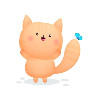 Śliczny szczęśliwy kotek bawi się z kreskówką motyla
