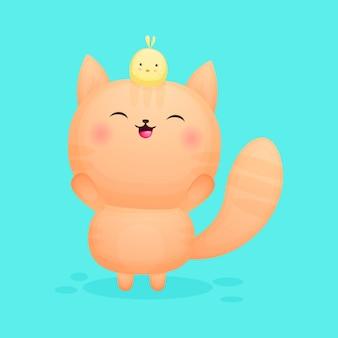 Śliczny szczęśliwy kotek bawi się z kreskówką piskląt