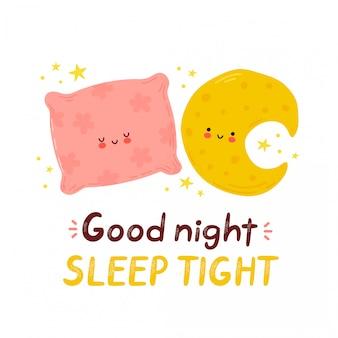 Śliczny szczęśliwy księżyc i poduszka. karta dobrej nocy snu. na białym tle postać z kreskówki ręcznie rysowane styl ilustracji