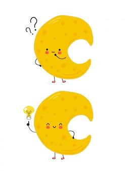 Śliczny szczęśliwy księżyc ze znakiem zapytania i żarówką pomysłu. na białym tle postać z kreskówki ręcznie rysowane styl ilustracji