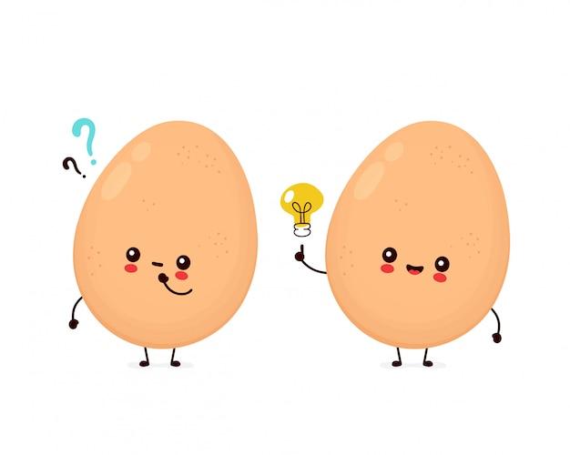 Śliczny szczęśliwy kurczaka jajko z znaka zapytania i pomysłu lightbulb.