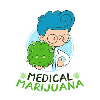 Śliczny szczęśliwy lekarz trzyma pączek konopi. płaska linia kreskówka kawaii charakter ilustracja