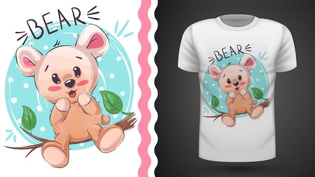 Śliczny szczęśliwy miś - pomysł na t-shirt z nadrukiem
