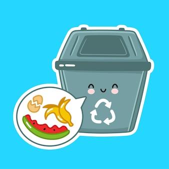 Śliczny szczęśliwy pojemnik na śmieci dla produktów ekologicznych.