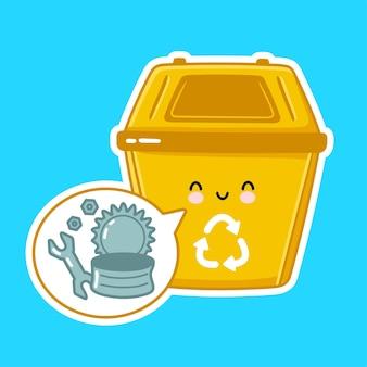 Śliczny szczęśliwy pojemnik na śmieci do metalu