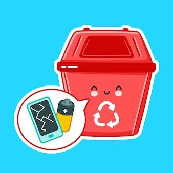 Śliczny szczęśliwy pojemnik na śmieci na e odpady