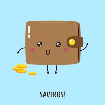 Śliczny szczęśliwy portfel z niektórymi wektorami monet