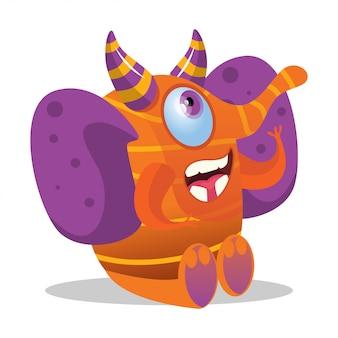 Śliczny szczęśliwy słoń kreskówki potwór z rogami