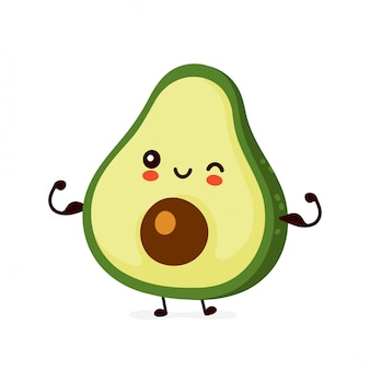 Śliczny szczęśliwy śmieszny avocado przedstawienia mięsień. postać z kreskówki ilustracyjny ikona projekt. odosobniony