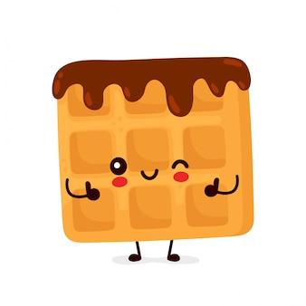 Śliczny szczęśliwy śmieszny belgijski gofr z czekoladą. postać z kreskówki ilustracyjny ikona projekt. odosobniony