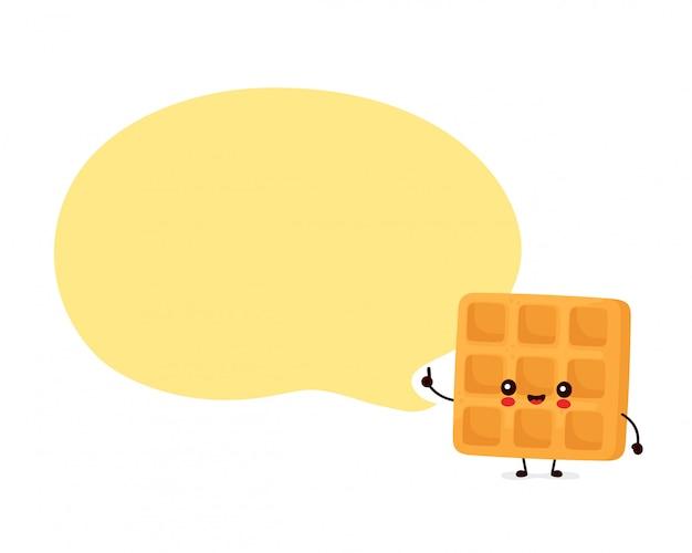 Śliczny szczęśliwy śmieszny belgijski gofr z mowa bąblem. postać z kreskówki ilustracyjny ikona projekt. odosobniony