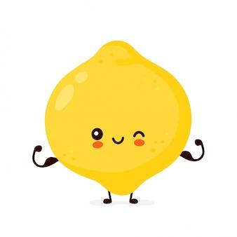 Śliczny szczęśliwy śmieszny cytryny owocowy przedstawienie mięsień. postać z kreskówki ilustracyjny ikona projekt. pojedynczy białe tło