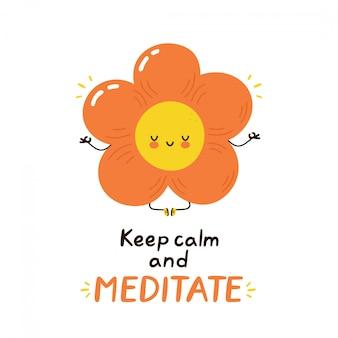 Śliczny szczęśliwy śmieszny kwiat medytuje. wektor postać z kreskówki ilustracyjny projekt. odosobniony.