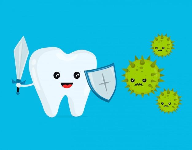 Śliczny szczęśliwy śmieszny uśmiechnięty walczący ząb