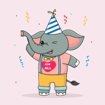 Śliczny szczęśliwy urodziny słoń z kapeluszem