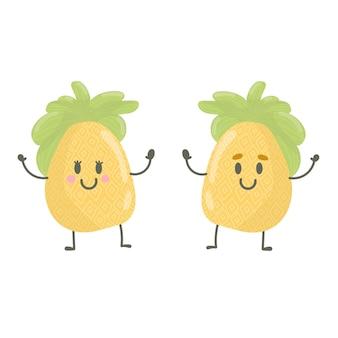 Śliczny szczęśliwy uśmiechający się ananasowy charakter chłopiec i dziewczynka słodkie ananasa, ilustracji wektorowych dla dzieci w stylu kreskówki