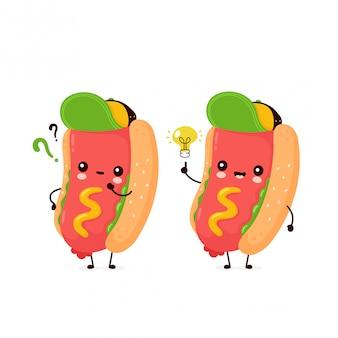Śliczny szczęśliwy uśmiechnięty hot dog z znaka zapytania i pomysłu lightbulb.