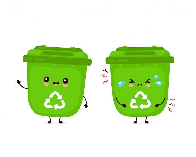 Śliczny szczęśliwy uśmiechnięty i smutny płaczu kosz na śmieci. płaska postać z kreskówki ilustracyjny projekt. odizolowywający na białym tle. recykling śmieci, posortowane śmieci