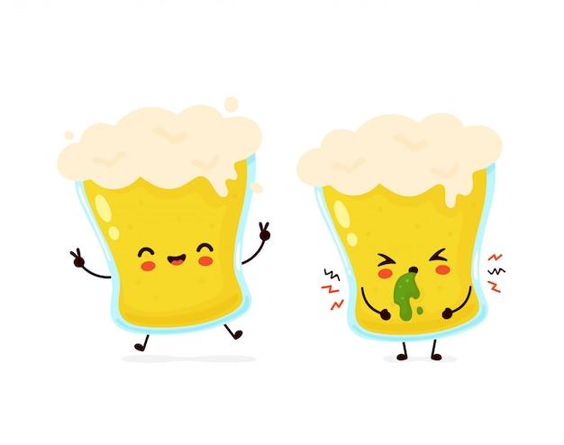 Śliczny szczęśliwy uśmiechnięty i smutny wymiociny szkło piwo.
