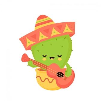 Śliczny szczęśliwy uśmiechnięty kaktus z gitarą w meksykańskim kapeluszu