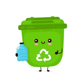 Śliczny szczęśliwy uśmiechnięty kosz na śmieci z plastikową butelką. płaska postać z kreskówki ilustracyjny projekt. odizolowywający na białym tle. recykling śmieci, posortowane śmieci