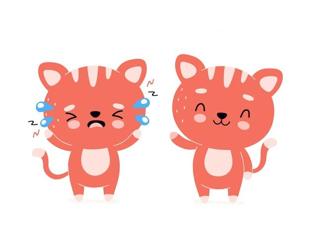 Śliczny szczęśliwy uśmiechnięty kot i smutny płaczu charakter. ikona ilustracja kreskówka nowoczesne modne mieszkanie. pojedynczo na białym. kot, kotek zdrowy i niezdrowy charakter