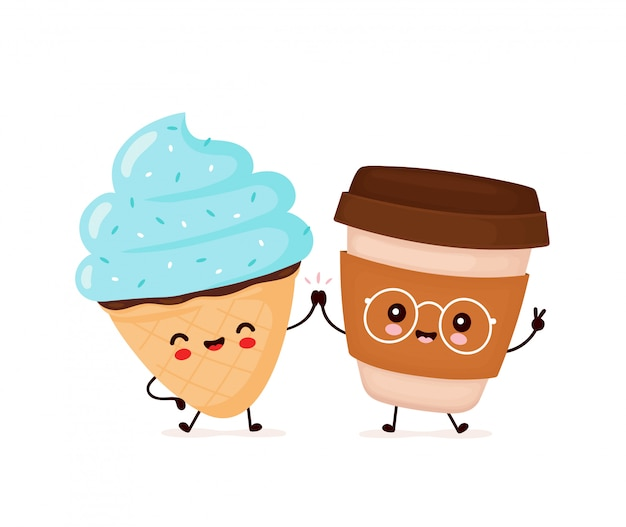 Śliczny szczęśliwy uśmiechnięty lody rożek i filiżanka kawy.