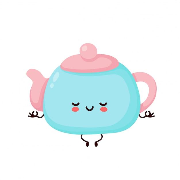 Śliczny szczęśliwy uśmiechnięty teapot medytuje w joga pozie. postać z kreskówki.