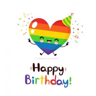 Śliczny szczęśliwy uśmiechnięty tęczy serca charakter. wszystkiego najlepszego z okazji urodzin karta. płaskiej kreskówki ilustracyjny projekt. pojedynczo na białym tle. lgbtq, koncepcja karty urodzinowej dla gejów