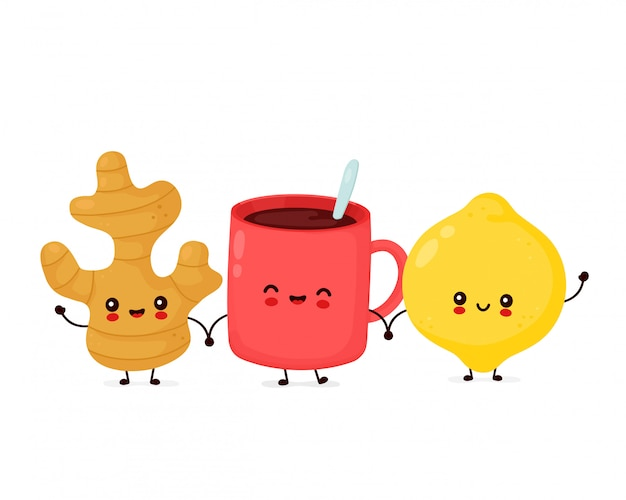 Śliczny szczęśliwy zabawny cytrynowy owoc, imbir i kubek herbaty. postać z kreskówki ilustracyjny ikona projekt. odosobniony