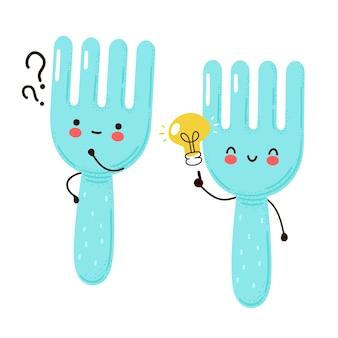 Śliczny szczęśliwy zabawny widelec ze znakiem zapytania i żarówką pomysłu. na białym tle postać z kreskówki ręcznie rysowane styl ilustracji