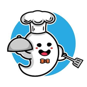 Śliczny szef kuchni duch ilustracja kreskówka halloween koncepcja
