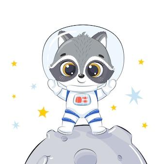 Śliczny szop kosmonauta stoi na księżycu.