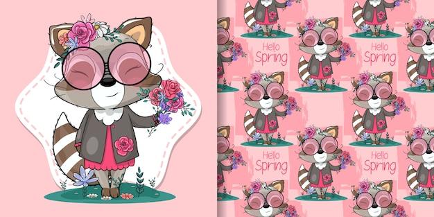 Śliczny szop pracz z kwiatami ilustracyjnymi dla dzieciaków