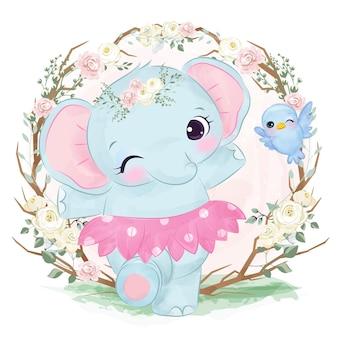 Śliczny tańczący słoń w okresie wiosennym